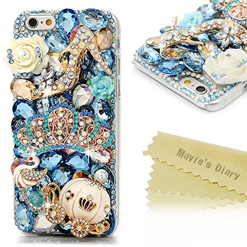 """Price comparison product image iPhone 6 Case 4.7"""",  iPhone 6S Case - Mavis's Diary 3D Handmade Bling Blue Diamond Crown Gold Pumpkin Car High-Heeled Shoe Cute Swan Colorful Flowers Shiny Rhinestone Gems Clear Hard PC Cover"""