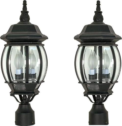 Three Light Post Lantern Black 2 Pack