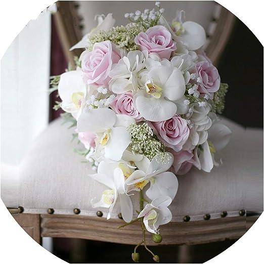 Amazon Com Ivory Pink Cascading Bridal Bouquets De Mariage Roses