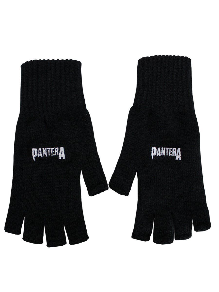 Pantera Logo Fingerless Gloves Black Officially Liscenced Product