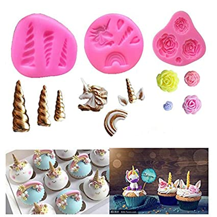 Mini Unicorn Mold Silicone Unicorn Horn Ears Flower and Rainbow Cupcake Topper Fondant for Birthday Party