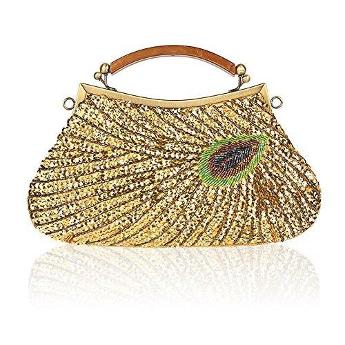 baile de de mujeres la del pavo moda embrague Bolso la las lentejuela del de de de la Bolso Gold manera de real bolso tarde curso de cadena fin correa la hombro de de la de bols bolsa de del la con del qxf1twYg
