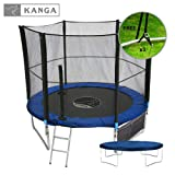 Kanga 8ft Premium Trampoline with Safety Enclosure, Net, Ladder, Anchor Kit, Shoe Bag & Winter Cover (8ft) by Kanga Trampolines