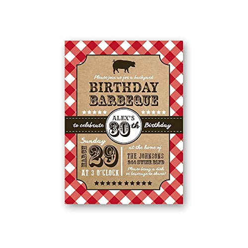 amazon com bbq birthday invitations set of 12 handmade