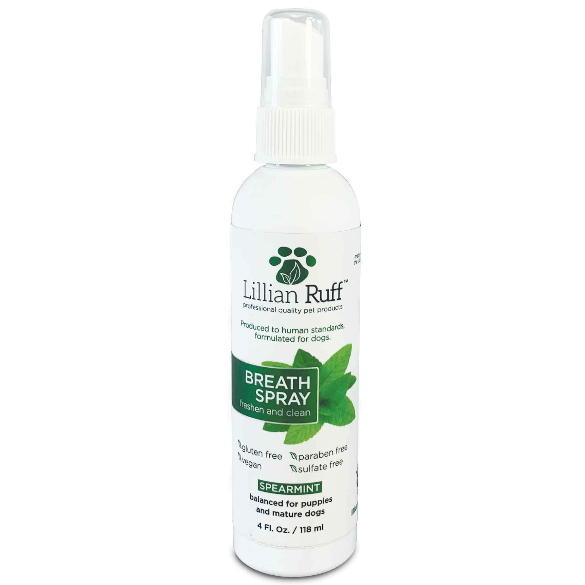 Lillian Ruff Dog Breath Freshener Spray - Spearmint Flavor- Fight Bad Breath, Dental Plaque and Tartar - Boost Immune System (4oz) by Lillian Ruff