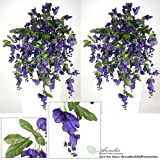 TWO 3' Artificial Wisteria Hanging Flower Bushes, with No Pot,