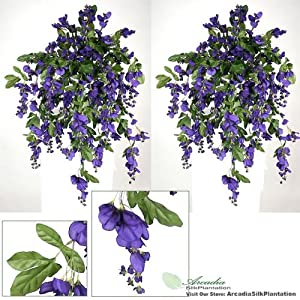 TWO 3' Artificial Wisteria Hanging Flower Bushes, with No Pot, 44