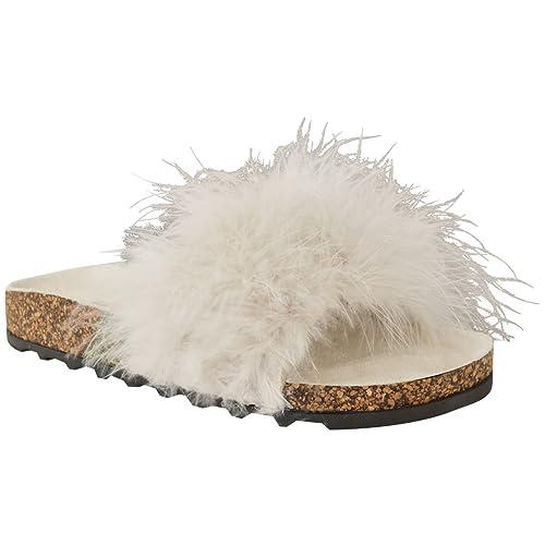 1084053139e77 Fashion Thirsty Sandales Plates à Fausse Fourrure - à Enfiler Entre ...