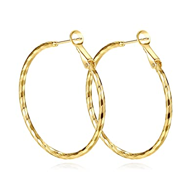 Yumay 9ct Yellow Gold Round Hoop Earrings,Large Fashion Earrings for Women(Hand-Carved&Twisted style).
