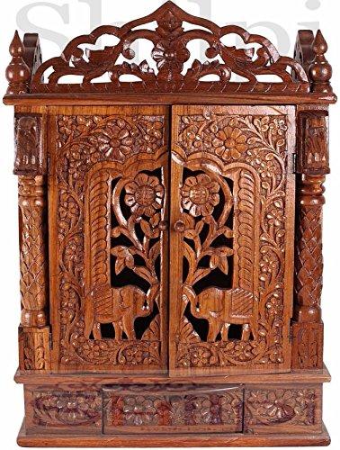 Shilpi Sheesham Wood Handmade Designer Home Temple With Door Lxbxh 21x12x28 Pooja Ghar Amazon In Home Kitchen