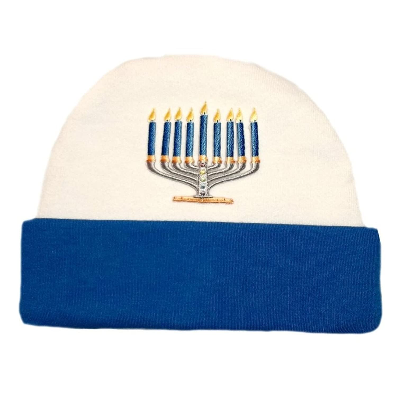 hot Jacqui's Baby Boys' Royal Blue Jewish Menorah Hanukkah Hat hot sale