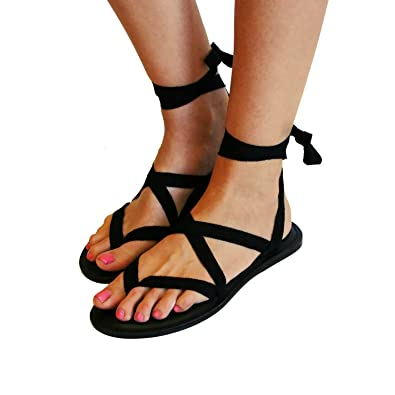 TOJ Womens Flat Barefoot Sandals Gladiator Sandals For Women Choose Your Own Straps 100% Leather Sole