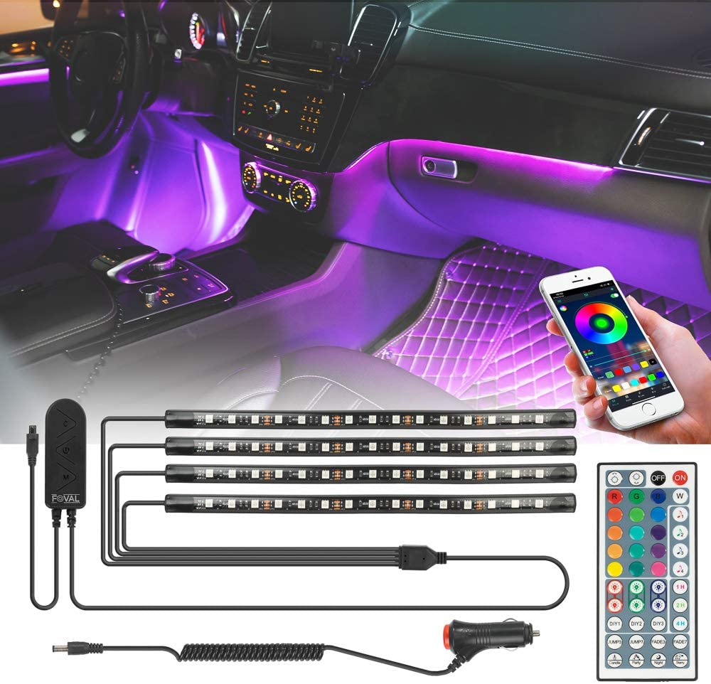 FOVAL Car Interior Lights, 4pcs 60 LED APP Controller Car LED Strip Lights, Multicolor Music Under Dash Lighting Kits Remote Control Waterproof for iPhone Android Phone, Car Charger Included, DC 12V
