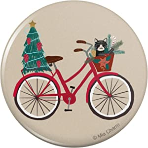 Christmas Bicycle Bike and Cat in Basket Kitchen Refrigerator Locker Button Magnet