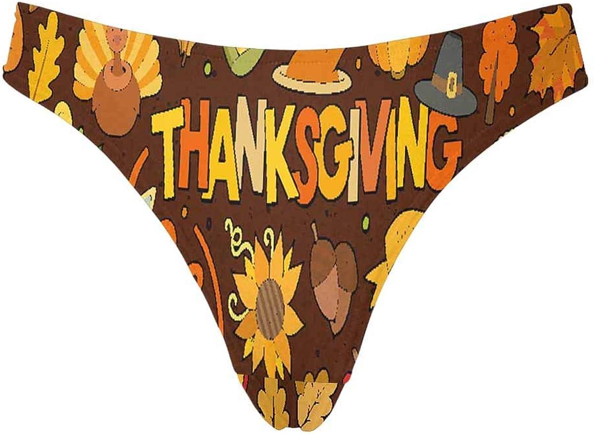 INTERESTPRINT Womens Classic Thongs Colorful Thanksgiving Pattern Low Waist Soft Panties Underwear M