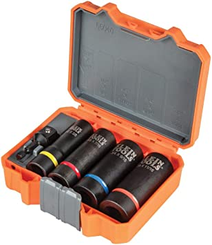 Klein Tools 66040 2-in-1 Impact Socket Set, 5-Piece Tool Set with 12-Point Deep Sockets with 1/2-Inch Drive, Includes Tool Case