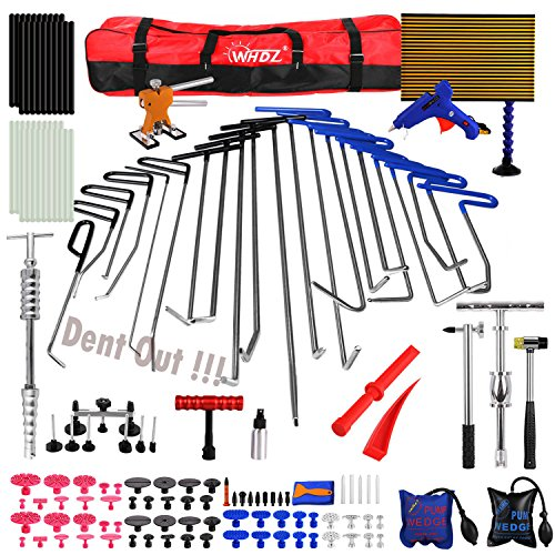 Paintless Dent Repair Tools Kit, WHDZ PDR Tool Kit for Hail Damage Removal - 21pcs PDR Rods Dent Puller Slide Hammer Dent Lifter Glue Gun Tap Down Pdr Light Reflect Board Auto Dent Repair Kit by WHDZ