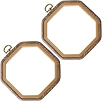 Healifty 2pcs Octagon Embroidery Hoops Cross Stitch Hoop Imitated Wood Embroidery Circle Art Craft Embroidery Frame