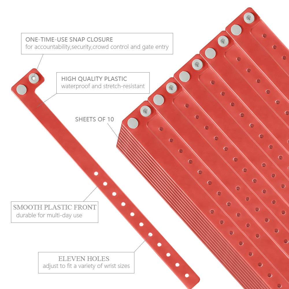 Ouchan Plastic Event Wristbands Red - 100 Pack Vinyl Wristbands for Parties by OUCHAN (Image #2)
