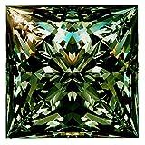 RINGJEWEL 1.77 ct VVS1 Loose Moissanite Princess Cut Use 4 Pendant/Ring Blueish Green Color Stone