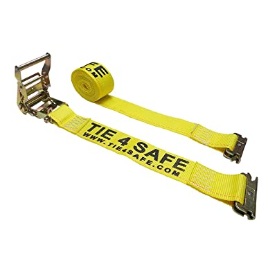 "2 - Pack Mega Cargo Control 2"" x 12' E-Track Ratchet Tie Straps Trailer Van Enclosed Truck Tie Down (12 FT - Yellow)"