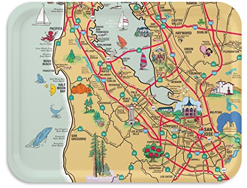 Trays4Us Silicon Valley 16x12 inches (Large) Map Serving Tray - 70+ Different Designs
