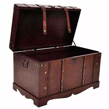 Incroyable Festnight Vintage Treasure Chest Large Wooden Storage Chest
