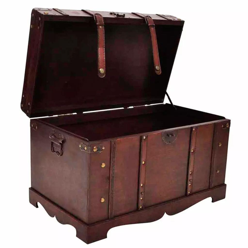 Festnight Vintage Treasure Chest Large Wooden Storage Chest
