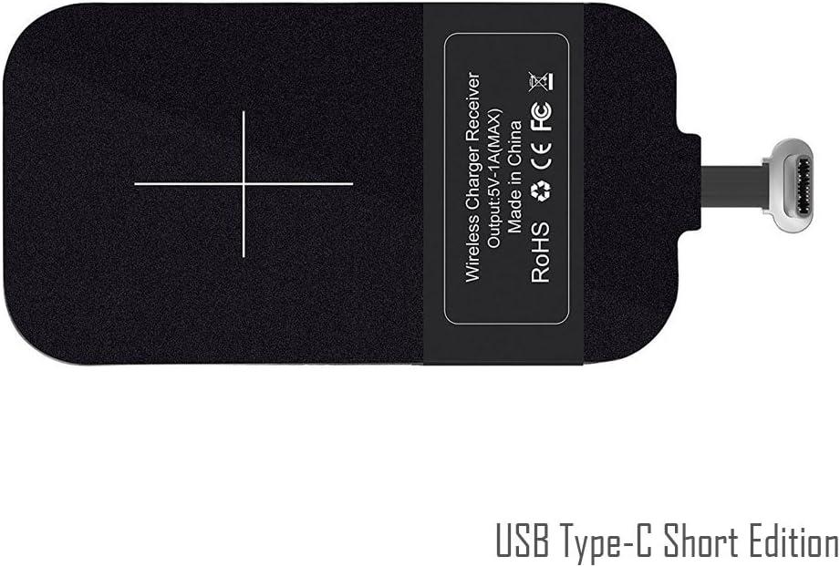 USB Type C de Qi de carga inalámbrica Receptor [corto] - USB-C inalámbrico del cargador módulo para Android Sony XZ1, Google Pixel, Huawei Nova, Honor, LG G5, Nexus 5X y Smartphone de menos de 5.5''