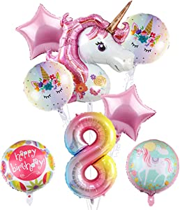 """Large Unicorn Balloons Party Supplies, 43"""" Pink Unicorn Mylar Balloon for 8th Birthday Balloon Bouquet Decorations,Baby Shower, Home Office Decor, Birthday Backdrop"""