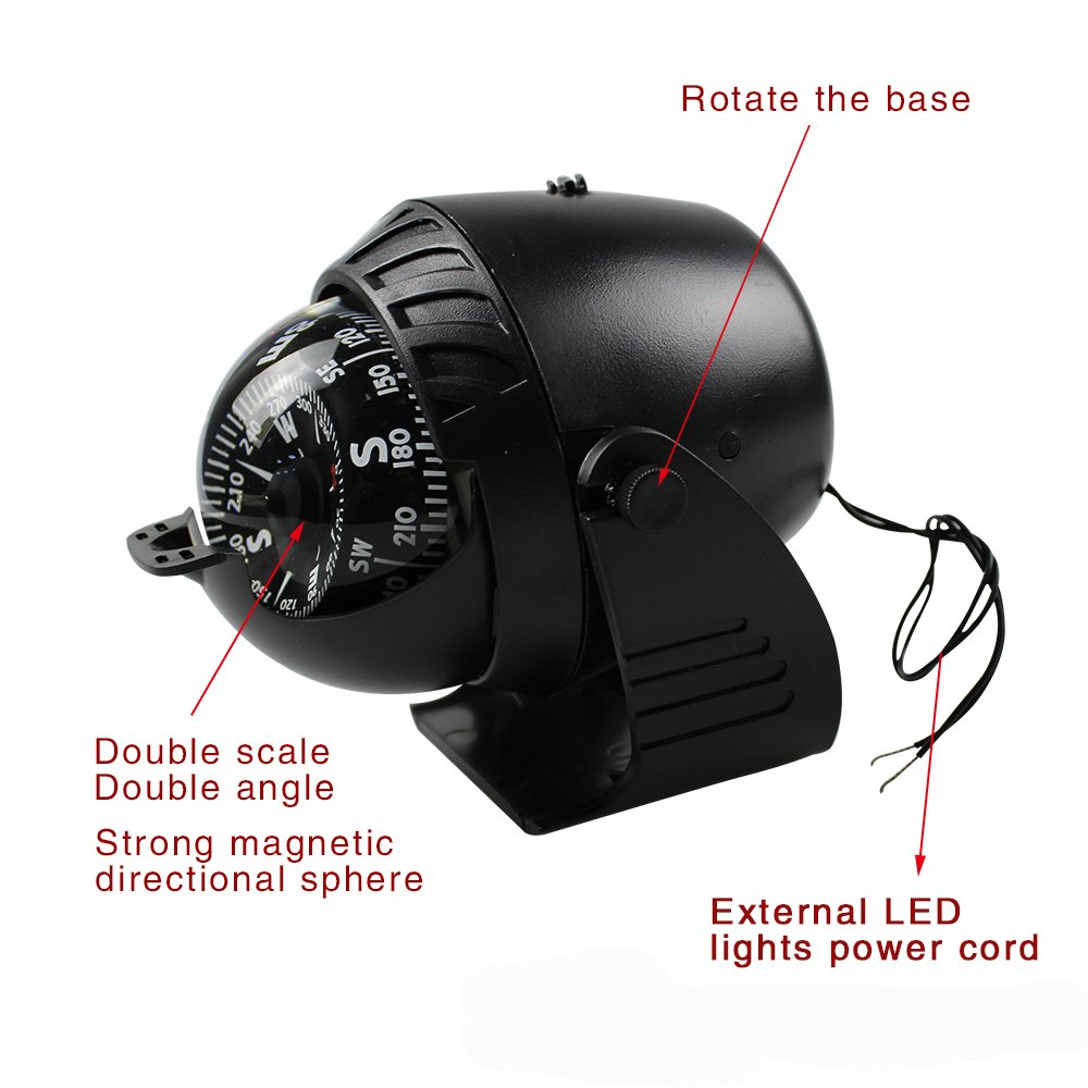 Power Boat Installation Fishing Hunting Kayak Marine Led 210 Jshanmei Light Sea Compass Electronic Digital Caravan Truck Black Sports Outdoors