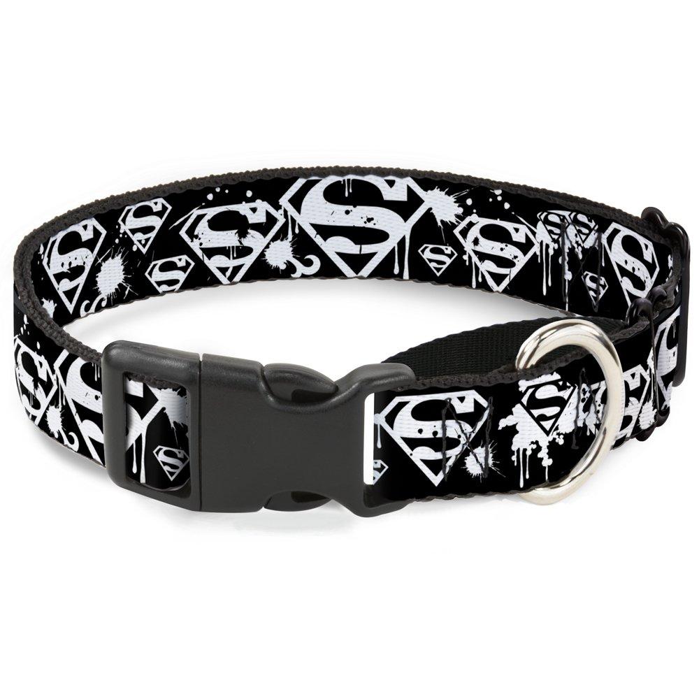 Buckle-Down MGC-WSM007-WL Martingale Plastic Clip Collar, Superman Shield Splatter Black White, 1.5  by 18-32