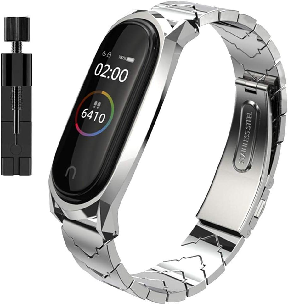 AHANGA Correa para Xiaomi Mi Band 4/ Mi Band 3 Correas de Metal Pulsera con Enlaces Herramienta de eliminación Extensibles Reloj Wristband Repuesto Bandas de Acero Inoxidable Reemplazo Pulseras