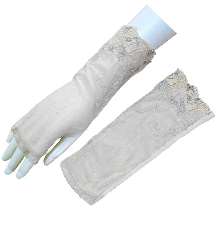 Sun UV Protection Gloves for Women Driving Glove Fingerless Thumb Hole Glove (One Size, Beige)