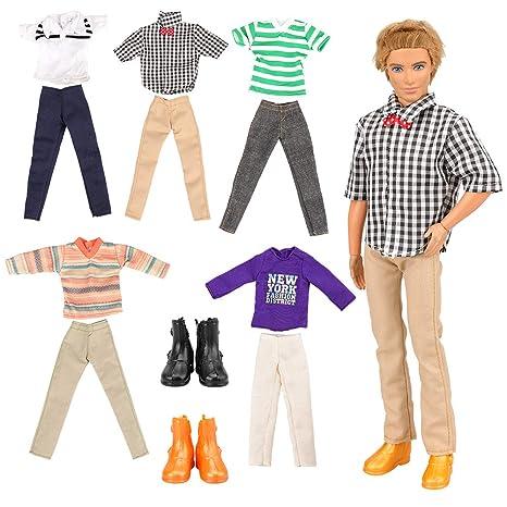 Abiti Villavivi Barbie5 Accessori Ken Dolls Fidanzato Pcs Pantaloni2 7 Maschio Scarpe Per Di Vestiti Bambola 8wnkO0P