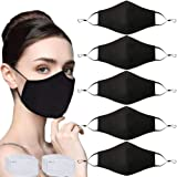5 Pcs Adult Unisex Reusable Washable Adjustable Breathable Dust Cover with Nose Wire Fashion Cotton Cloth Masks with 10 Activ