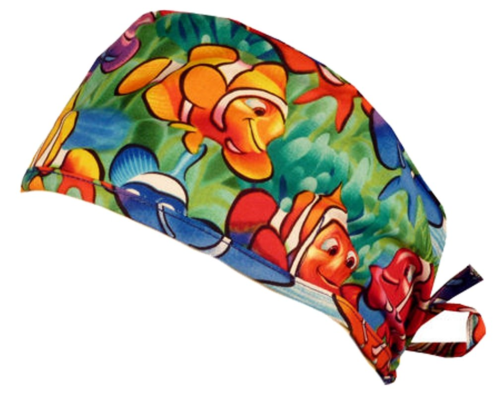 Mens and Womens Medical Scrub Cap - Smiling Clownfish by Sparkling Earth