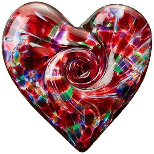 Handmade Glass Unusual Paperweight Art Glass 3 Art Garden Heart – Multi Colored Pink