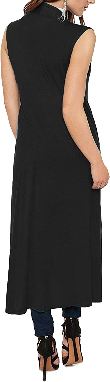 Womens Ladies Sleeveless Longline Waistcoat Cardi Boyfriend Open Maxi Cardigan