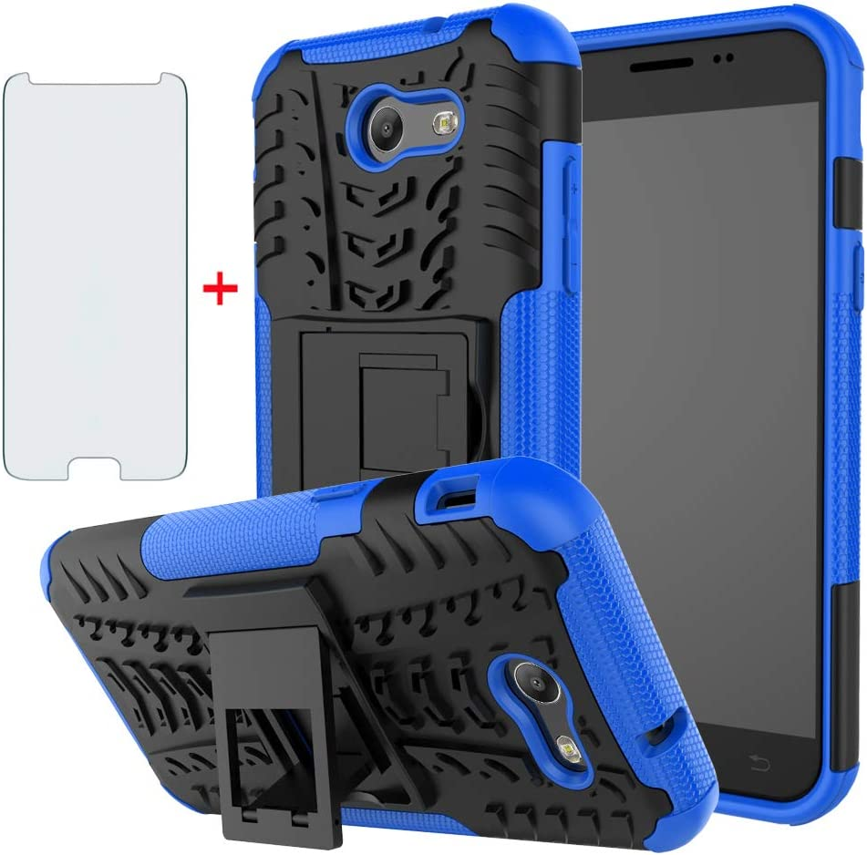 Phone Case for Samsung Galaxy J3 Luna Pro J 3 Prime 2017 Emerge 3J Eclipse Mission with Tempered Glass Screen Protector Cover Stand Hard Rugged Hybrid Cell Accessories Glaxay S327VL Cases Black Blue