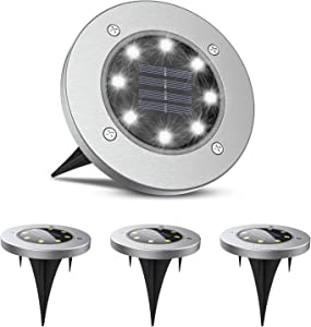BRIGHTRIGHT Solar Disk Lights (4 Units) White 8-LED Weatherproof Outdoor In-Ground Lights for Landscape, Garden, Patio, Lawn, Deck, Pathway & Driveway