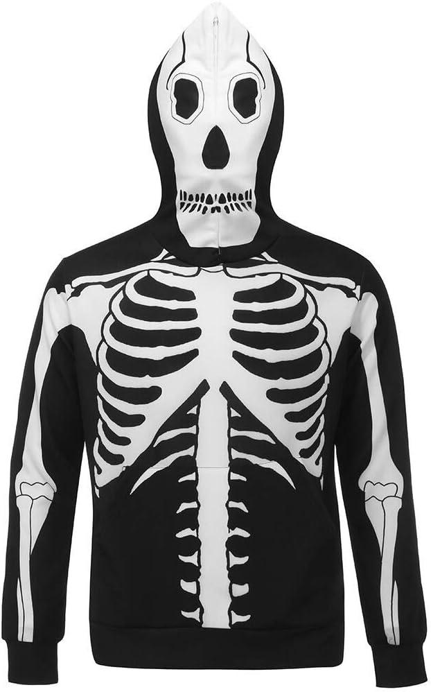 Yezijin Funny Halloween Sweatshirts for Women 3D Skull Printed Party Long Sleeve Hoodie Top Sweatshirt 2019 New