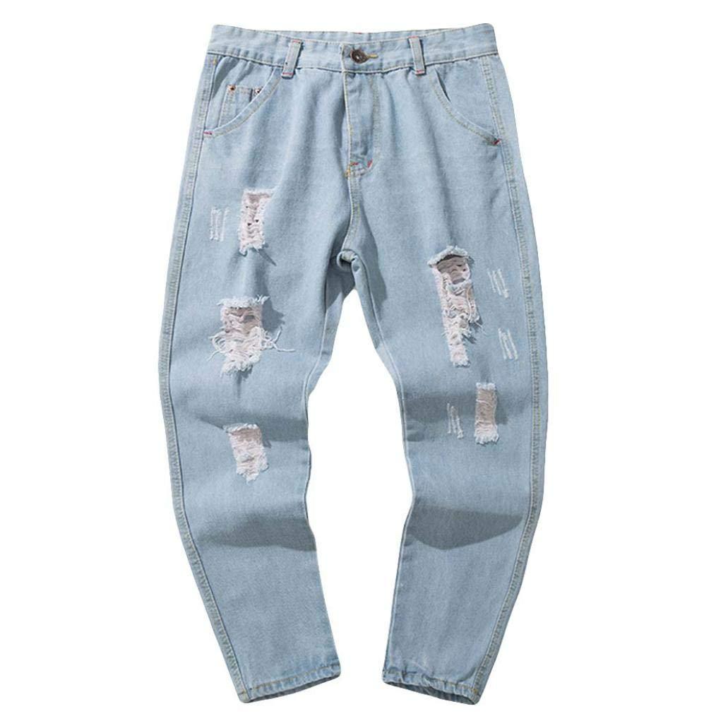 Alimao 2018 Autumn Pants Mens Casual Autumn Denim Cotton Vintage Hip Hop Trousers Shredded Jeans Pants