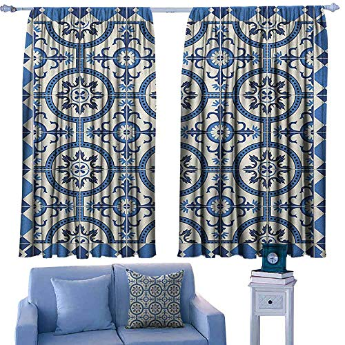 ParadiseDecor Moroccan Kitchen Curtains Oriental Turkish Style Inspired Arabesque Mosaic Motifs in Classic Retro Design,Backout Draperies for Chidren Bedroom,W42 x L54 Inch
