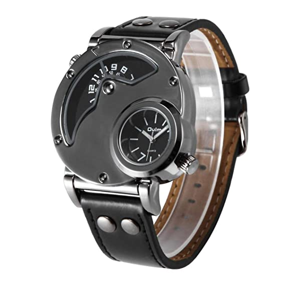 Reloj de los Hombres de Lujo Marca Oulm Dual Time Zone Banda de Cuero Reloj HP9591B Japón Movimiento de Cuarzo al Aire Libre Viaje Reloj Masculino: ...