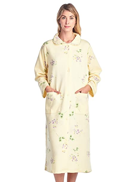 Casual Nights Women s Long Quilted Robe House Dress - Floral Yellow - Small 9e7c46650