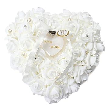 Amazon yosoo 15x13cm white romantic rose wedding ring box yosoo 15x13cm white romantic rose wedding ring box rose heart favors wedding ring pillow with elegant junglespirit Choice Image
