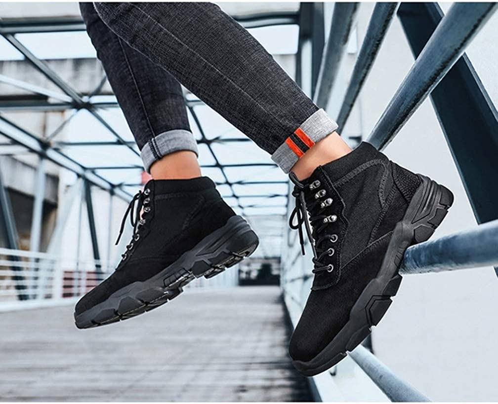 Men Walking Shoes Flat Casual Non Slip Lace up Trainers Outdoor Hiking Sport Fitness Jogging Sneakers Black