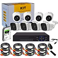 Tomvision 8CH 1080P 5-in-1 DVR Video Surveillance Online View System with 1TB HDD Pre-Installed and 4 Outdoor IP66 Weatherproof Bullet Cameras 4 Indoor Dome Camerawith IR Night Vision