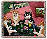 Shiba Inus Dogs Playing Poker Woven Throw Blanket 54 x 38